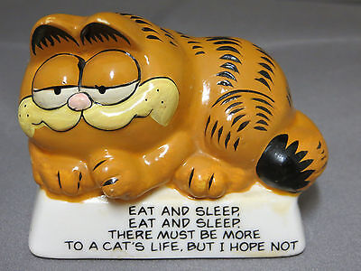 Garfield Cat Eat Sleep  Figurine Statue Enesco 1981 Vintage Collectible
