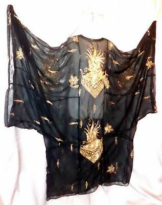 SHEER BLACK w/GOLD EMBROIDERY Vintage 60s BOHEMIAN FESTIVAL CAFTAN GOWN DRESS