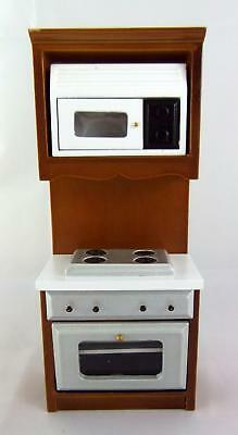 Dolls House Miniature Kitchen Furniture Walnut Fitted Unit Oven Hob Microwave