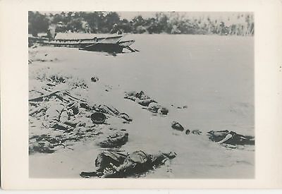 1940s WWII Pacific Theater, Landing craft & Japanese KIA,  graphic Photo