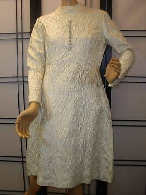 Vtg 60s CEIL CHAPMAN METALLIC SILVER R/S BUT White Brocade Party Cocktail Dress