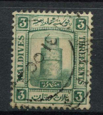 Maldive Islands 1909 SG#8, 3c Deep Myrtle Green Used #A78088