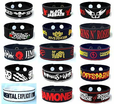 Rock Punk Metal Rubber Wristbands Bracelet Cuff Memorabilia Collectibles Gift