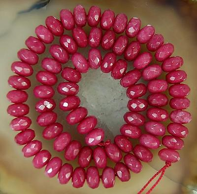 5x8mm Faceted RED Ruby Gemstone Loose Beads 15""