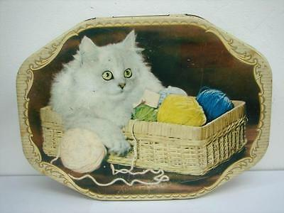 1.5 pound A W Allens Lolly Chocolate Sweets Tin Cat scene Vintage White Mischief