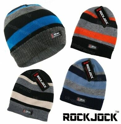Childrens Boys Thermal Lined Thinsulate Striped Knitted Beanie Winter Warm Hat