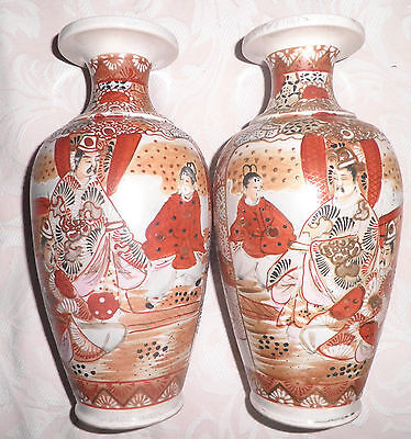 "PAIR of ANTIQUE JAPANESE SATSUMA VASES 9.5"" TALL"