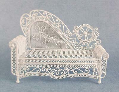 Melody Jane Dolls House Miniature White Wire Wrought Iron Chaise Longue Sofa