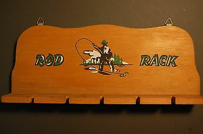 Vintage Fly Rod Rack Incredible Graphics