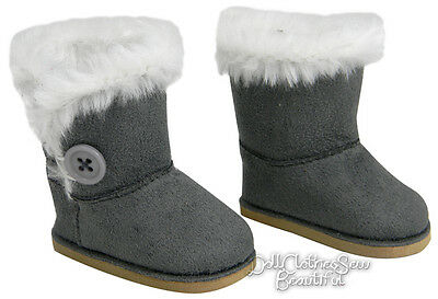 "Gray Fur Trim Winter Boots w/ Button for 18"" American Girl Doll Clothes"