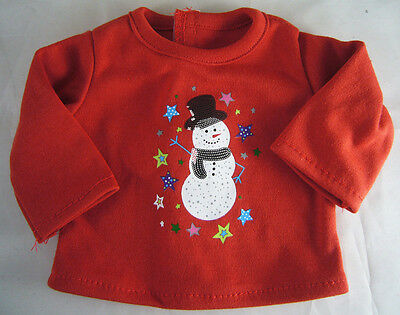Christmas Red Snowman T-Shirt for Bitty Baby Doll Clothes