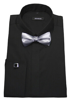 Huber-1012 Polsini Camicia nero+Papillon S argento - 5XL Regular Fit