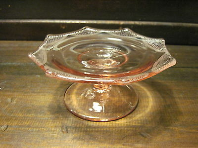 Vintage Pink Depression Glass Etched Compote
