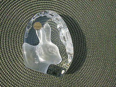 Cristal d' Arque's Rabbit Bunny Lead Crystal Paper Weight paperweight head