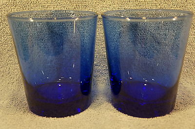 """Anchor Hocking Refreshers Cobalt Blue Old Fashioned 4"""" Tall Lot of 2 Glasses"""