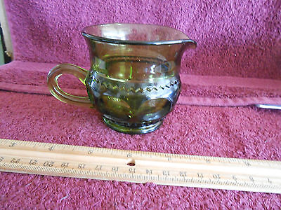 Tiffin glass Kings Crown green creamer and sugar