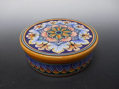 "Round Gialletti Giulio Majolica Deruta 5"" Geometric Box with Lid from Italy"