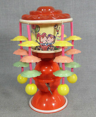 OCCUPIED JAPAN MERRY GO ROUND CAROUSEL CELLULOID WIND UP MUSICAL TOY ~WORKS