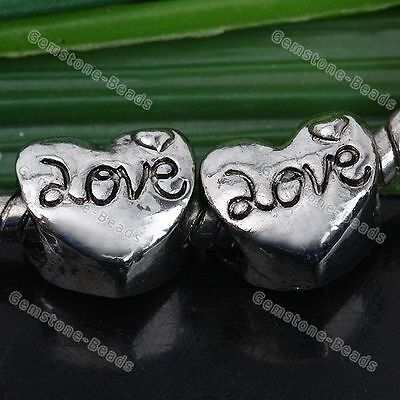 5x Tibetan Silver Heart Carved Love European Spacer Beads Fit Charm Bracelet DIY