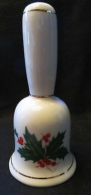 """5 1/2"""" Ceramic Christmas Bell with Holly Sprig and Gold Trim"""