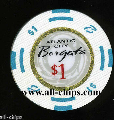 $1 Borgata 2nd issue New with 2-Bs & Textured UNC Atlantic City Casino Chip