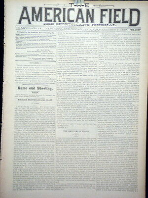 Newspaper The American Field The Sportsman's Journal Dogs Hunting Fish 1887 #2