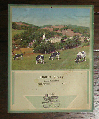 Hight's General Store West Topsham Vermont VT Calendar Backing 1950's