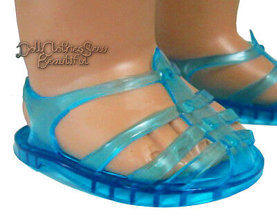 Bright Blue Jelly Jellies Shoes Summer Sandals for American Girl Doll Clothes