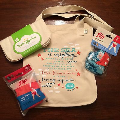 New Bumgenius Goodie Bag Lot W/ Cloth Wipes Jules & Sassy Flip Cloth Diapers