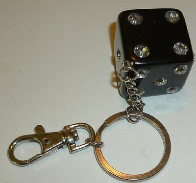 """Big black DICE with bling numbers keyring key chain clip-on 1.25"""""""