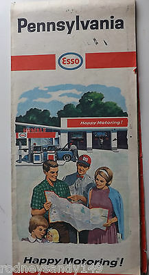 1965 Pennsylvania ESSO Happy Motoring Fold Out Road Map
