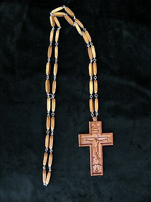 Russian Orthodox Carved Wooden Crucifix W/Chain. Priest Pectoral. Large New