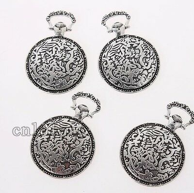 10x Antique Silver Pocket Watch Shape Charms Alloy Pendants Jewelry Findings C