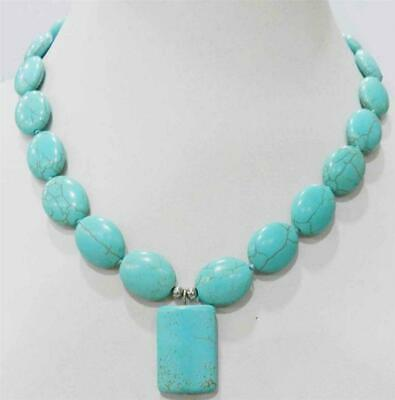 Beauty Tibet Jewelry Ancient Tone Blue Turquoise Gems Beads Pendant Necklace 18""