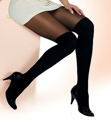"MOCK SUSPENDER TIGHTS "" PaLa"" with Imitating Knee Sock Pattern"