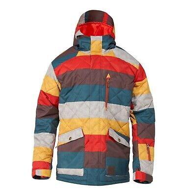 New 2015 Mens DC Forest Insulated Snowboard Jacket Large Linen Stripes