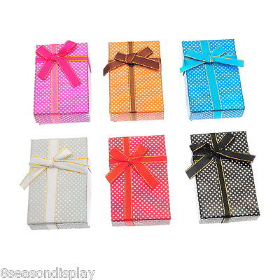 30X Mixed Small Dot Ribbon Necklace Bracelet Ring Jewelry Gift Box