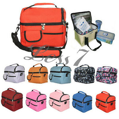Portable Lunch Picnic Thermal Insulated Bag Ice Cooler Box Storage Carrier Pou L