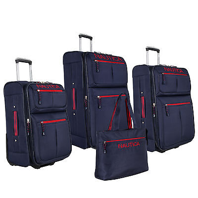 NAUTICA MARITIME II NAVY BLUE RED EXPANDABLE 4 PIECE LUGGAGE SET $880 VALUE