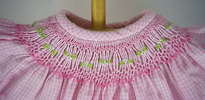 Gorgeous Pink Gingham Hand-Smocked Dress for Bitty Baby + Twins Doll Clothes