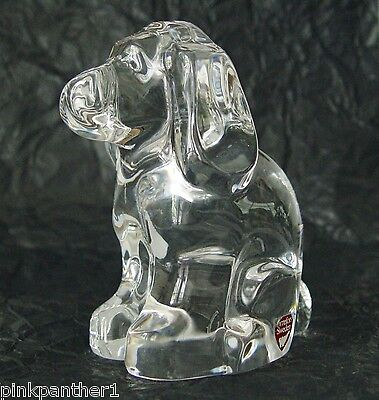 ORREFORS  Sweden  Clear  Lead  Crystal  Glass  DOG  Puppy Figurine  2 Lbs. heavy