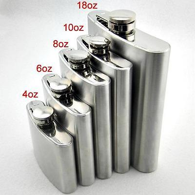4 5 6  8 10 oz Stainless Steel Hip Liquor Whiskey Alcohol Wine Flask Cap +Funnel