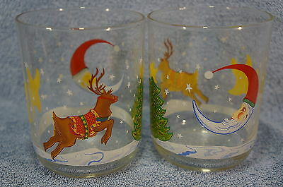 """Libbey Reindeer Games-4 1/4"""" Double Old Fashioned Tumblers-Lot of 2"""