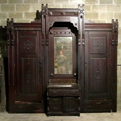 ~ANTIQUE CARVED WALNUT BUILT IN CLOSET FRONT BUTLERS PANTRY 108 x 108 SALVAGE ~