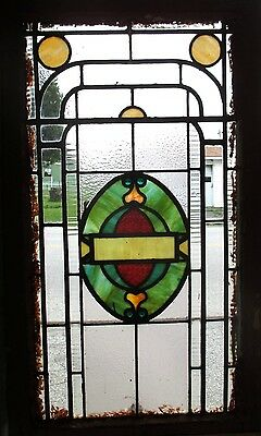 ~ ANTIQUE AMERICAN STAINED GLASS WINDOW ~ 22.5 x 37.5 ~ ARCHITECTURAL SALVAGE