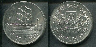 SINGAPORE 1973 - 5 Dollars in Silber, stgl.! SEAP ASIAN GAMES Olympia