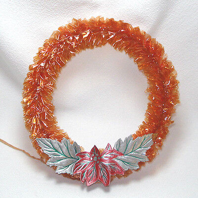 Mid Century Red Cellophane Christmas Wreath