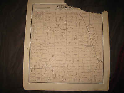 Antique 1873 Arlington Dixon Columbia County Wisconsin Handcolored Map Rare Nr