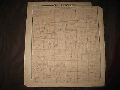 Antique 1873 Springvale Columbia County Wisconsin Handcolored Map Superb Rare Nr