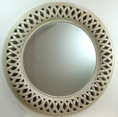 Venice Very Large Round Wall Mirror Ivory  Frame Art Deco 112cm Antique 44""